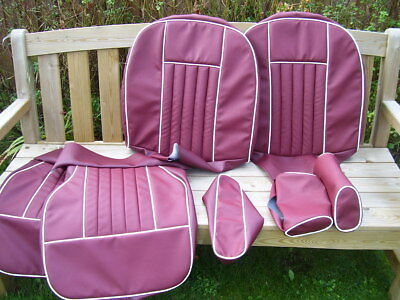 mgb gt & roadster SEAT COVERS.. beautiful DARK RED.....fits headrest type seats