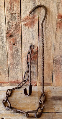 ANTIQUE Wrought Iron Early CHAIN TRAMMEL c.1720 Hand Forged with Fine Twist