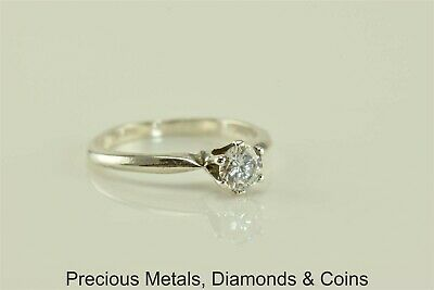 Sterling Silver .50ct Cubic Zirconia Solitaire 6 Prong Ring 925 Sz: 6