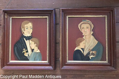Pair Vintage Folk Art Portraits by D. Davis