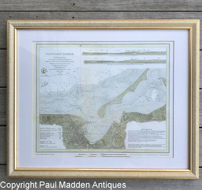 Framed Reproduction Map of Nantucket Harbor 1866