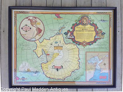 Vintage Map of Admiral Byrd's 2nd Antarctic Exploration