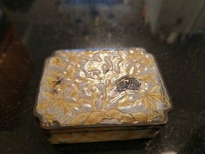 Antique Etched And Enameled Silver Snuff Box