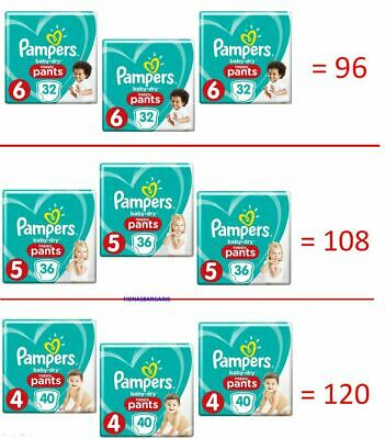 Pampers Baby Dry Nappy Pants - Size 6 x 96 OR Size 5 x 108 OR Size 4 x 120 Pack