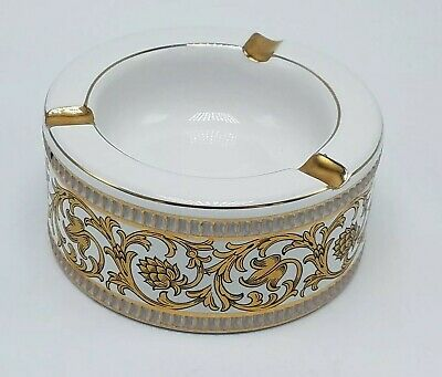 Beautiful Vintage Porcelain and Gold Painted Florentine Ashtray Italy