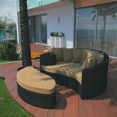 Modway Taiji Wicker Rattan Outdoor Patio Sectional Daybed In Espresso Mocha