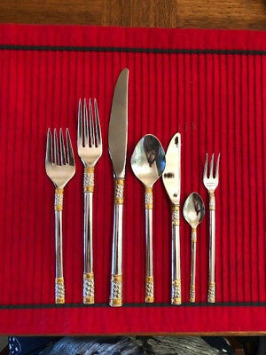 Wallace Aegean Weave Gold Sterling Silver Flatware 7 pc service for 8, 69 pcs +
