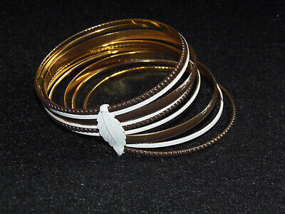 Vintage Brown & White metal Bangle Bracelet w/ white leaf clasp