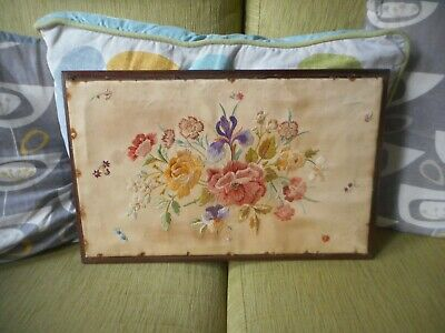 """Antique hand embroidery panel, 17"""" x 11""""."""