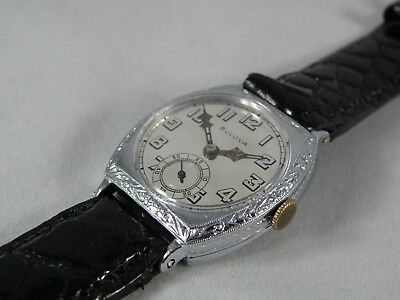 """1920`S BULOVA  WHITE GOLD FILLED ART DECO The """"Conqueror""""/ SERVICED  ETCHED"""