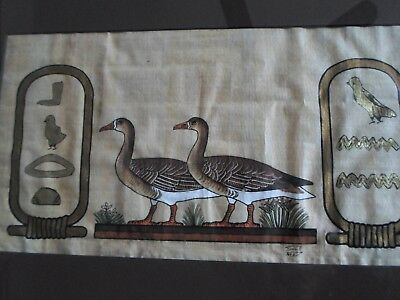 "Vintage Papyrus Egyptian Painting ""pair Of Geese"" Signed Professionally Framed"