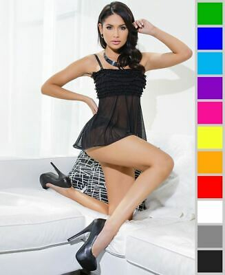 Coquette 7038 Mesh Babydoll With Gathered Mesh Sleeves