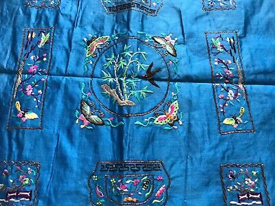 Antique Unused Hand Embroidered Chinese Blue Silk Panel Metal Thread Detail