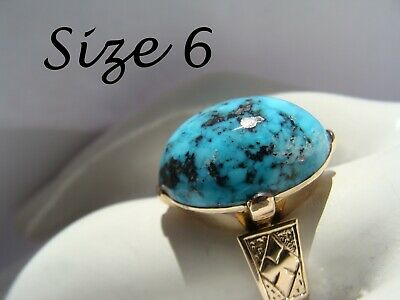 Sz 6 Antique FINE Georgian 1700s NATURAL Persian Blue Turquoise 10k Gold Ring