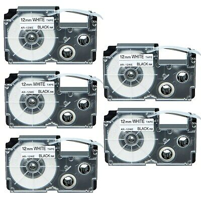 5PK Compatible Casio XR-12WE Black on White Label Tape for EZ KL-750B 12MM X 8M