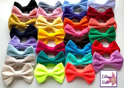 """Cotton Hair Bows - 3.9"""" Bows With Clip Attached - 29 Solid Colours - Cotton"""