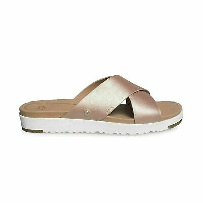 f494272a08f UGG KARI METALLIC Rose Gold Leather Flat Women`s Sandals Size Us 9.5/uk 8  New