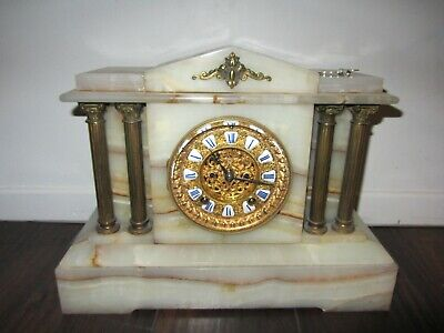 Antique 19th C Ansonia White  Onyx Marble Mantle Clock Bronze Victorian 1880