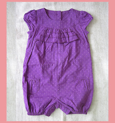 marks & spencer baby girl woven cotton purple ruffel short all one piece 3-6M