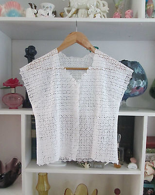 Broderie Anglaise size 8  White Shell Button Shirt
