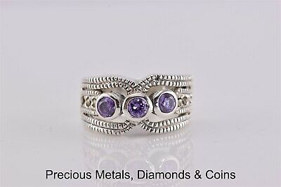 Sterling Silver Triple Bezel Set Purple Accented Dentated Band Ring 925 Sz: 6