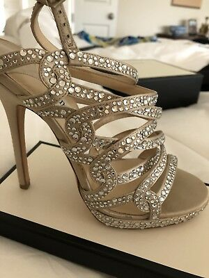a7dc829854b JIMMY CHOO Shoes Nude Satin Heel Platform Sandal W Crystals FORMAL BRIDAL  SZ 37