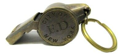 "New Brass 2"" Working Replica NYFD Fire Department Whistle w/Ring Vintage Patina"
