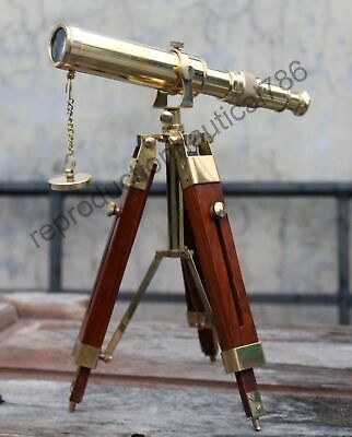 Vintage Solid Brass Telescope With Wooden Tripod Nautical Navy Ship Decorative