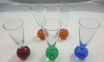 5 Shot Glasses 2 Orange(1 W Sm Defect), 1 Red, 1 Blue or 1 Green Glass Ball Bott