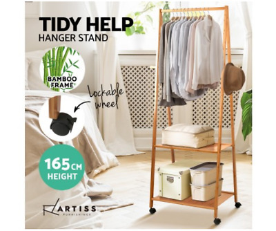 Bamboo Valet Stand Rolling Clothes Hanger Wood Display Coat Rack Shelves Office