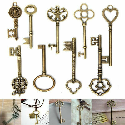 9PCS/set Large Vintage Antique Bronze Skeleton Keys Cabinet Barrel Old Lock