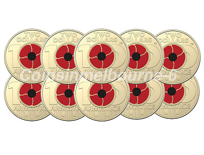 10x Remembrance Day 2018 - Centenary Red Poppy $2 Dollar Coin UNC Australia