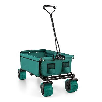 Green Handcart Garden Trolley Folding Space Saving Farm Patio Transport 90L 70Kg