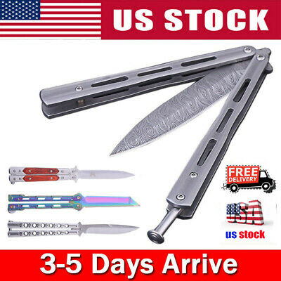 Stainless Steel Knife Folding Knives Flip Outdoor Camping Tool w/ Spring Button