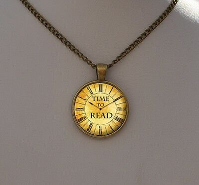 Vintage Pendant Necklace - Book Lover Worm Quote Jewellery Gift - Clock Watch Ar