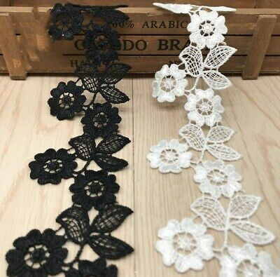 2y/lot  White/Black Embroidery Flower Lace Trim DIY Sewing Garment Handmade