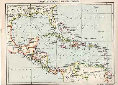 Map Of Mexico & West Indies Ocean Nautical Seaports James Brown & Sons Glasgow