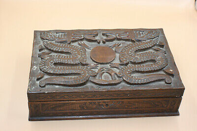Antique Chinese Wooden Carved Dragon in Relief Jewellery Trinket Storage Box