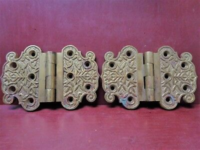 "RARE ANTIQUE READING HARDWARE WINDSOR VERY HEAVY CAST BRASS 4"" x 6"" HINGES #0"