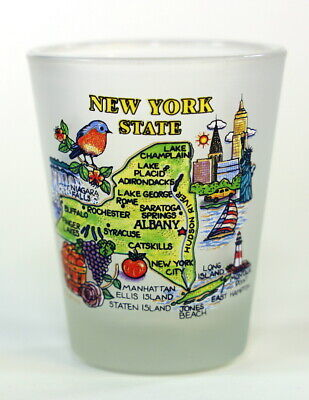 New York Map Frosted Shot Glass Shotglass