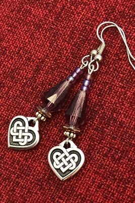 Celtic Knot Heart Earrings Crystal Irish Good Luck Surgical Steel Hooks Pewter