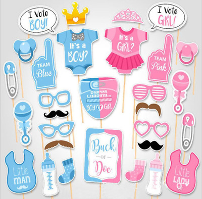 30 Pcs Baby Shower Girl or Boy Mummy To Be Balloon Photo Props Pompoms