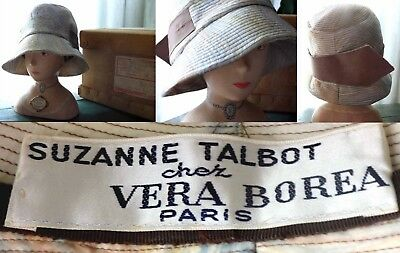 1961 Exceptional Suzanne Talbot For Vera Borea Paris Superb Cloche Hat W Box