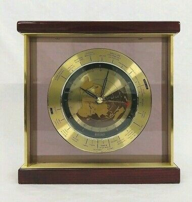 Seiko Brass Cherry Mantel World Time Clock Airplane Second Hand GMT Analog Wood