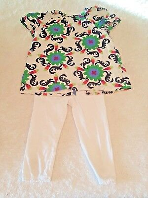 Girls 2 Piece Outfit BabyGap Floral Blouse & H&M White Leggings Size 5-6