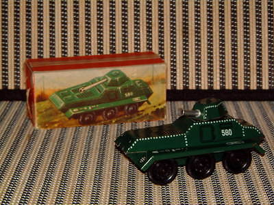 B&S Of West German, Friction Tin Army Tank W/Automatic Rotating Turret In Box!