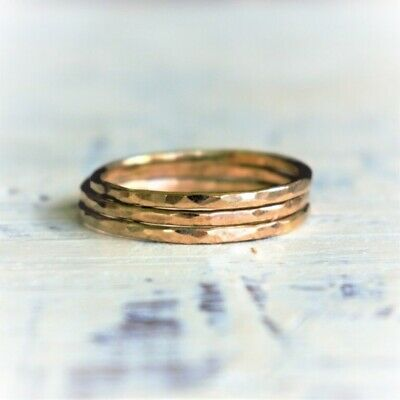 Set of 3 Handcrafted 14K Yellow Gold Filled Hammered Textured Stacking Rings