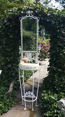 Victorian Cast & Wrought Iron Shaving  Stand /Hall Tree with marble top & mirror