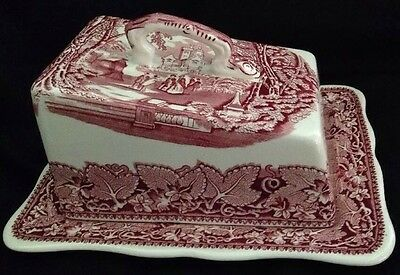 Vintage Masons Patent Ironstone Vista Pink Red Covered Cheese Dish Set England