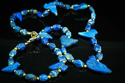 Antique Lapis Fine Grade Dove Bird Bead Carved Afghan Lapis Bead Necklace